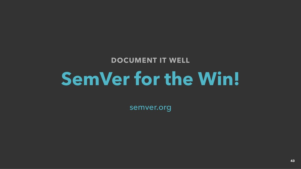 DOCUMENT IT WELL DOCUMENT IT WELL SemVer for th...