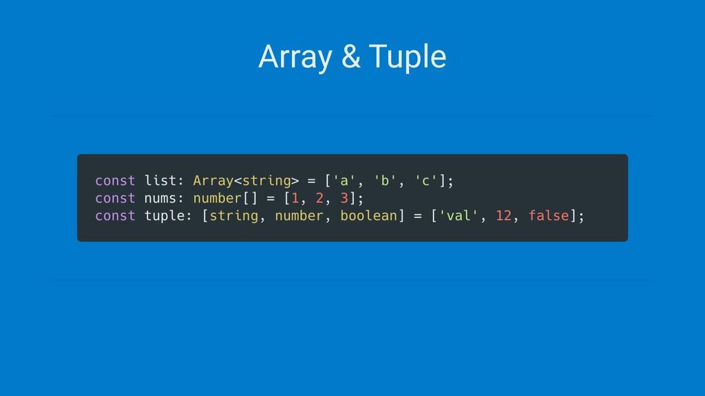 Array & Tuple