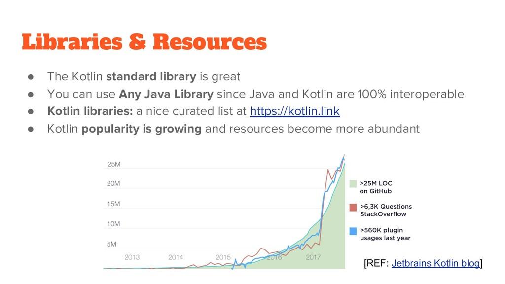 Libraries & Resources ● The Kotlin standard lib...