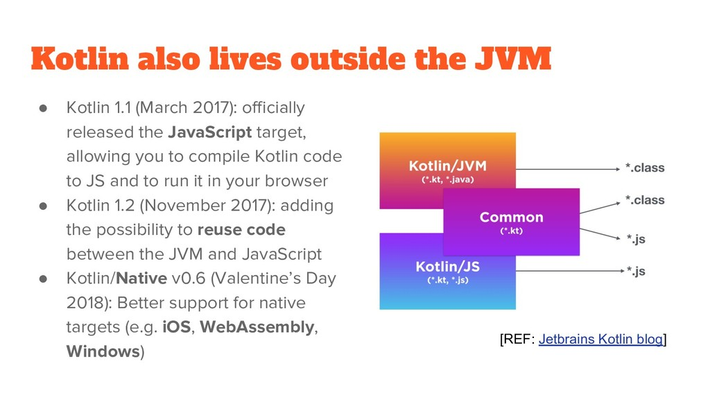 Kotlin also lives outside the JVM ● Kotlin 1.1 ...