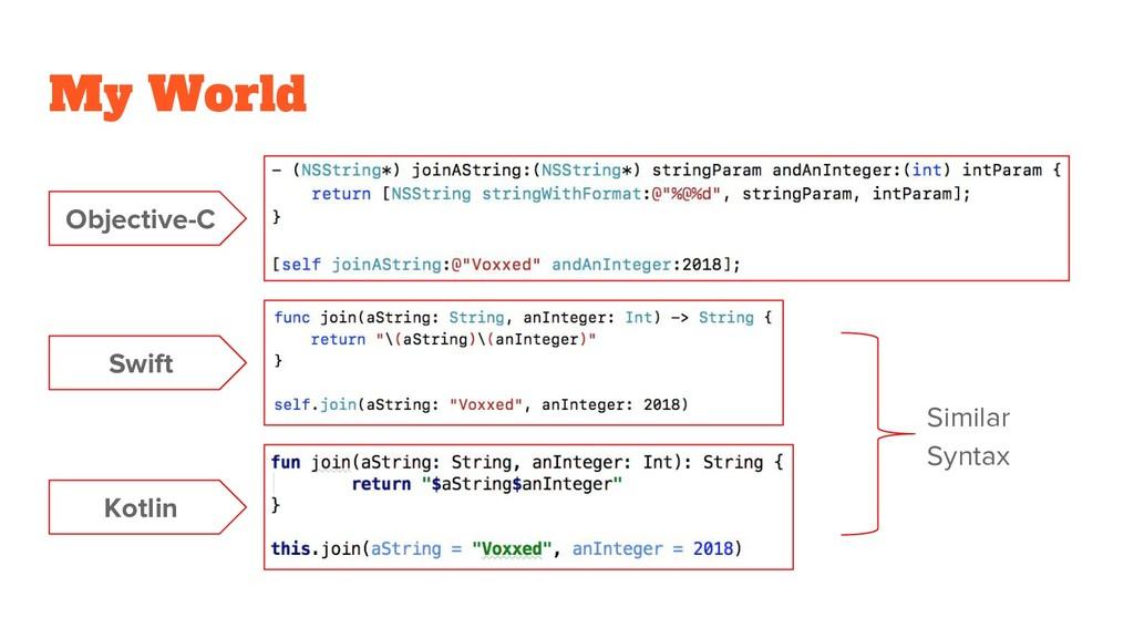 My World Objective-C Swift Kotlin Similar Syntax