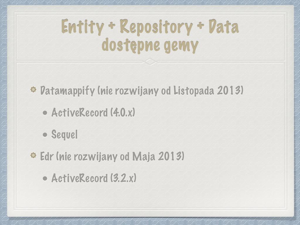 Entity + Repository + Data dostępne gemy Datama...