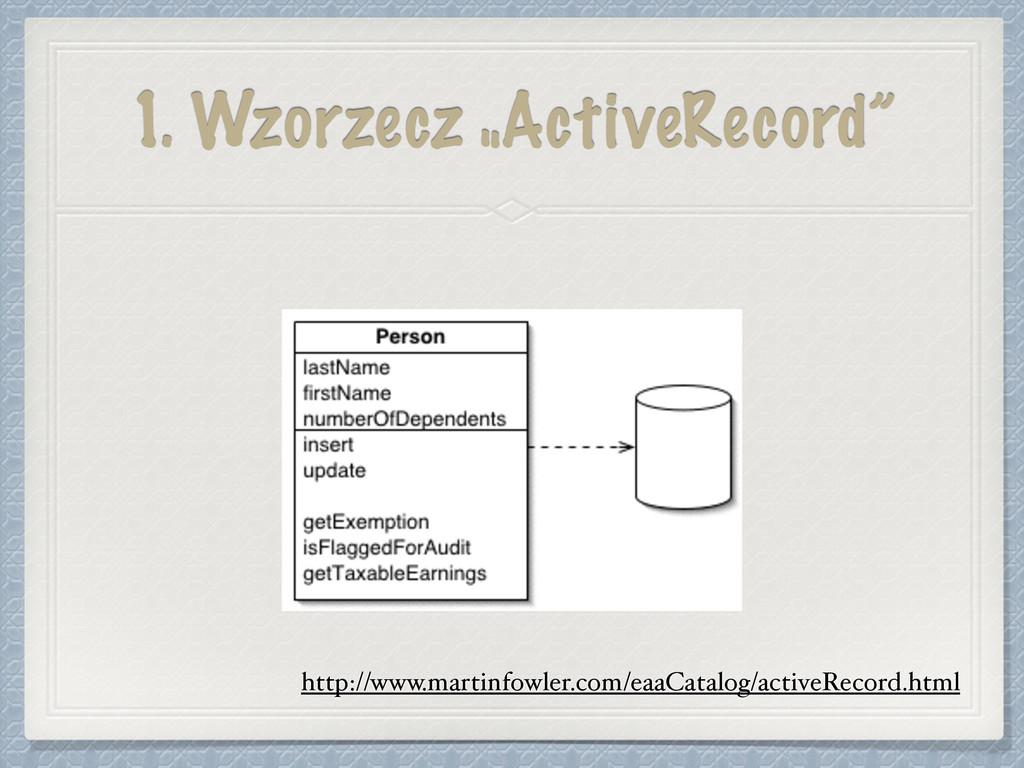 """1. Wzorzecz """"ActiveRecord"""" http://www.martinfow..."""