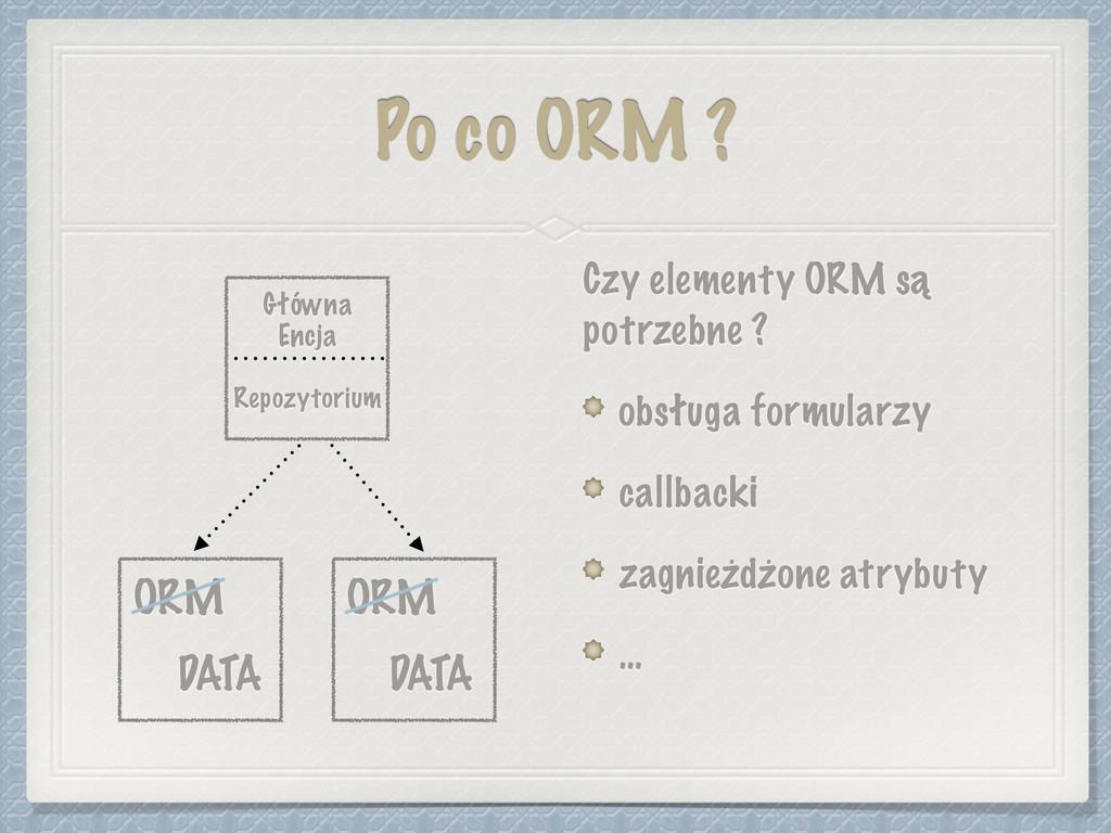 Po co ORM ? Czy elementy ORM są potrzebne ? obs...