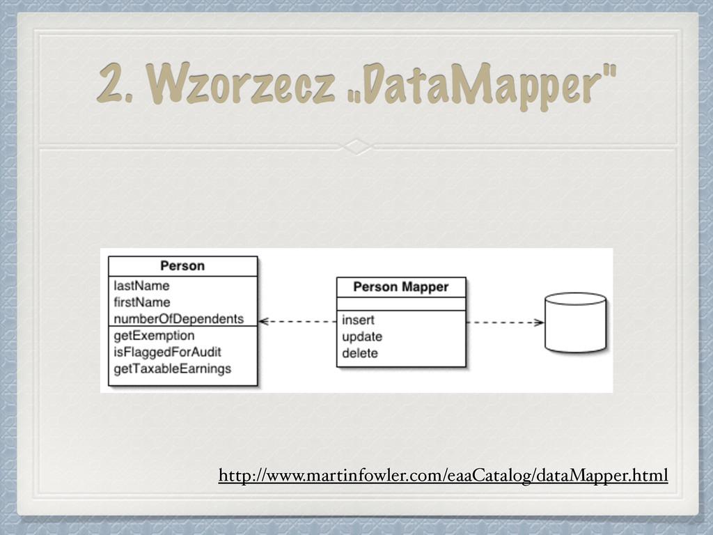 """2. Wzorzecz """"DataMapper"""" http://www.martinfowle..."""