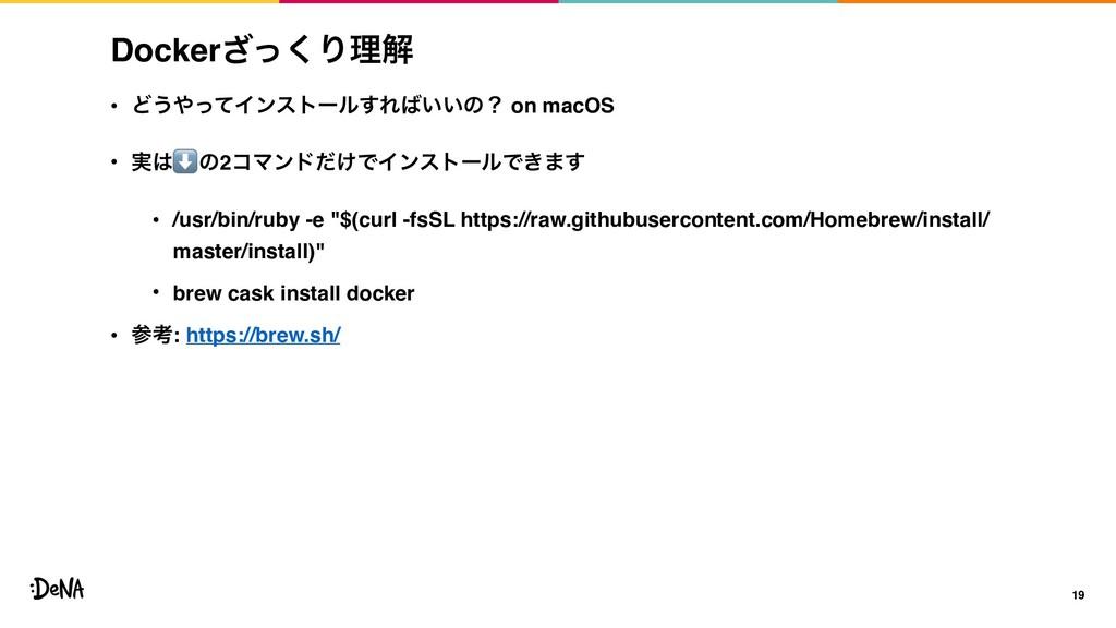 Dockerͬ͘͟Γཧղ • Ͳ͏ͬͯΠϯετʔϧ͢Ε͍͍ͷʁ on macOS • ࣮...