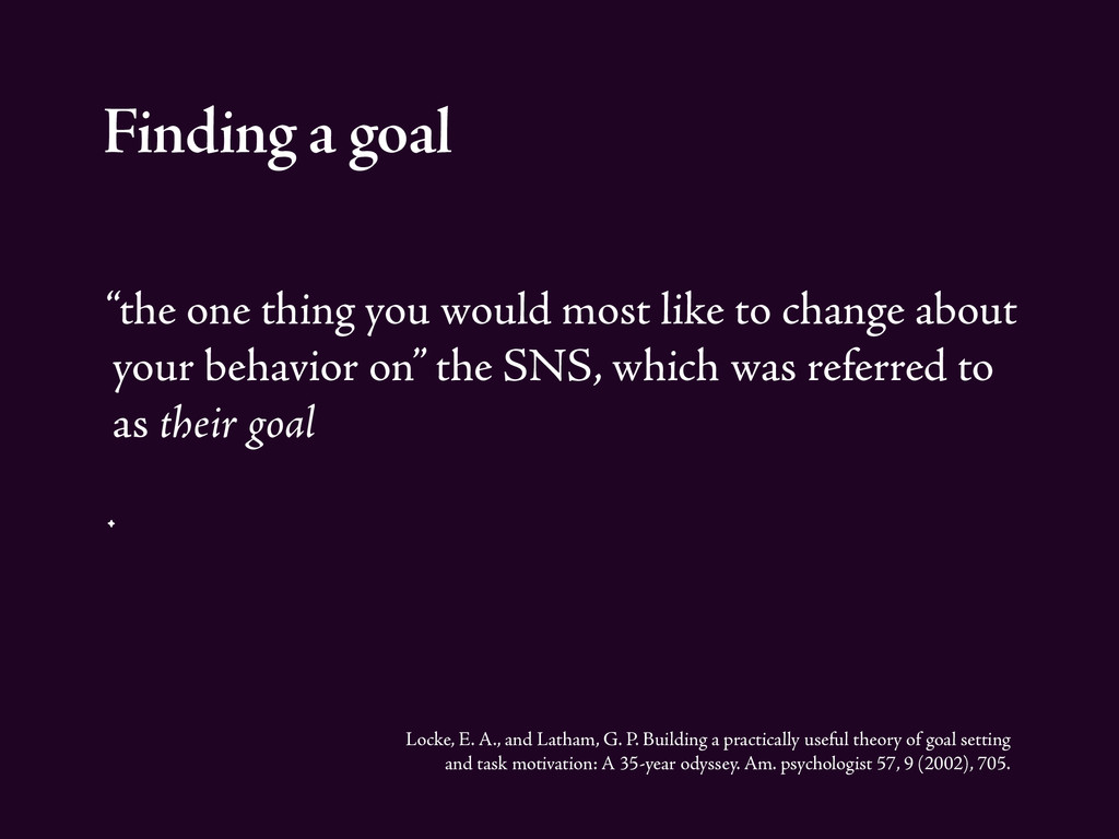 """Finding a goal """"the one thing you would most li..."""