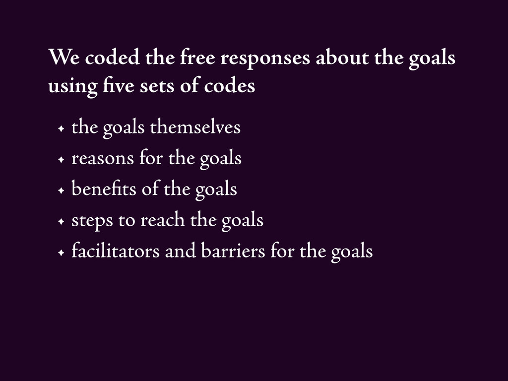 We coded the free responses about the goals usi...