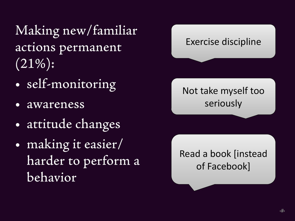 ‹#› Making new/familiar actions permanent (21%)...