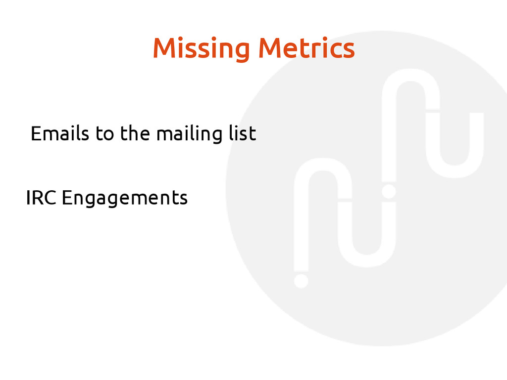Missing Metrics Emails to the mailing list IRC ...