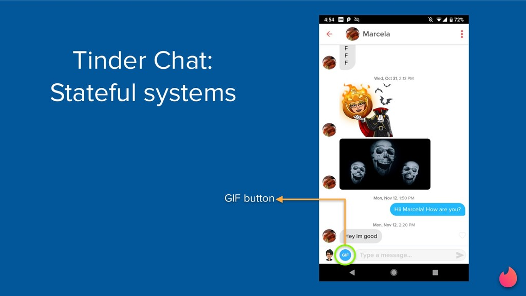 Tinder Chat: Stateful systems GIF button