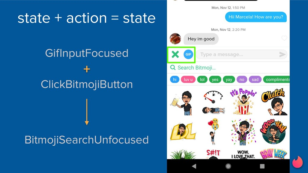 state + action = state BitmojiSearchUnfocused G...