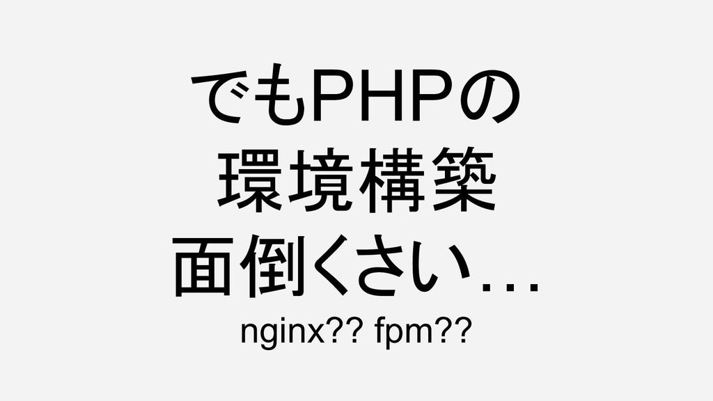 でもPHPの 環境構築 面倒くさい… nginx?? fpm??