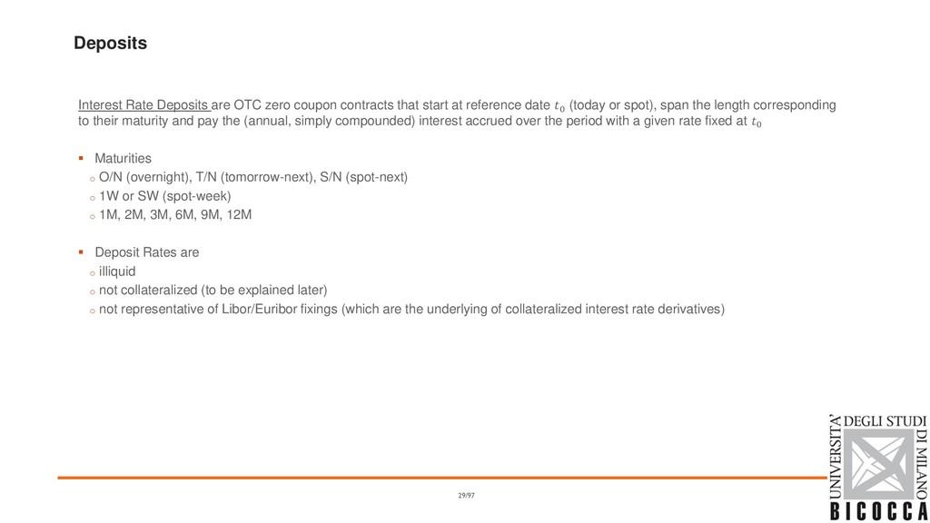 Deposits Interest Rate Deposits are OTC zero co...