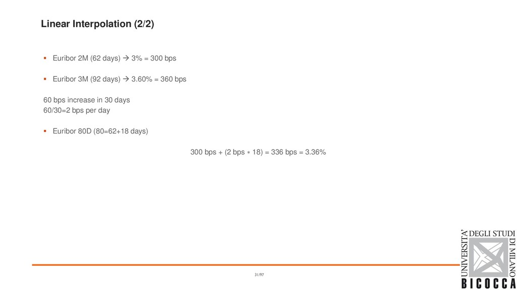 Linear Interpolation (2/2) ▪ Euribor 2M (62 day...