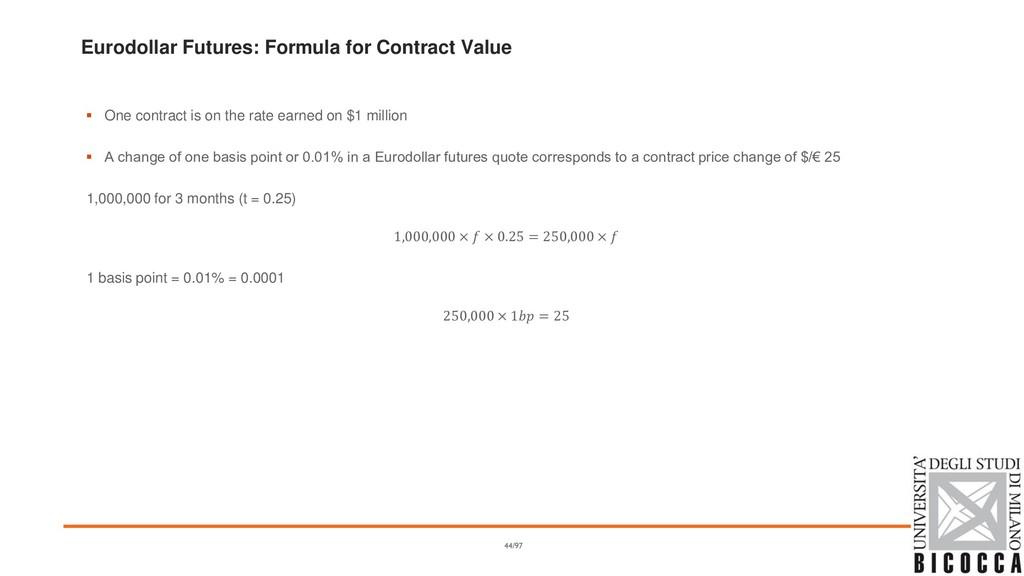 Eurodollar Futures: Formula for Contract Value ...