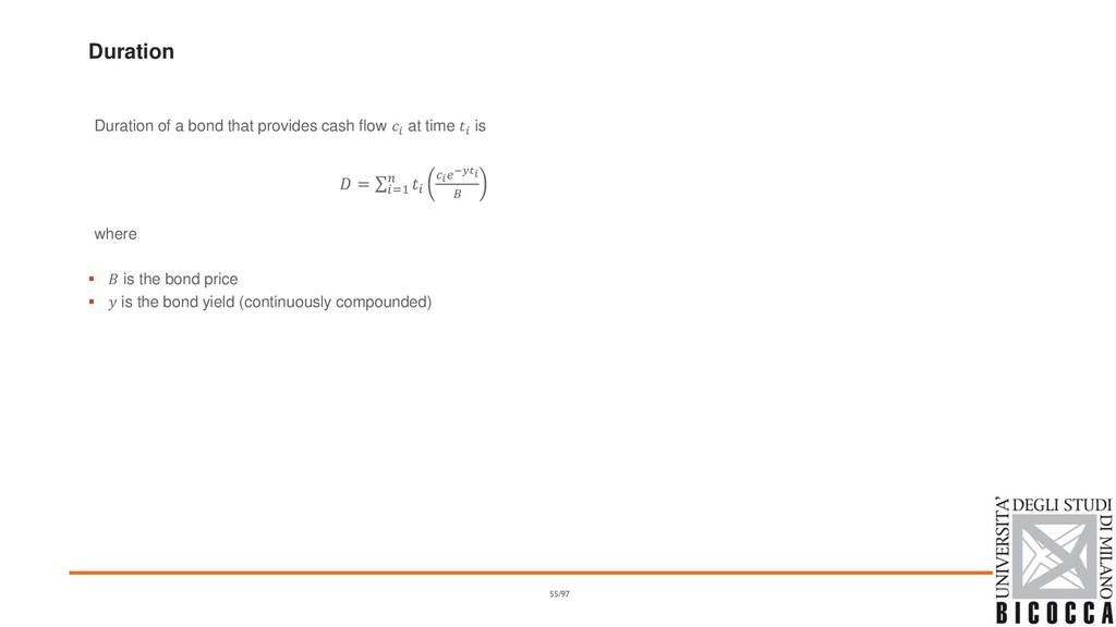 Duration Duration of a bond that provides cash ...