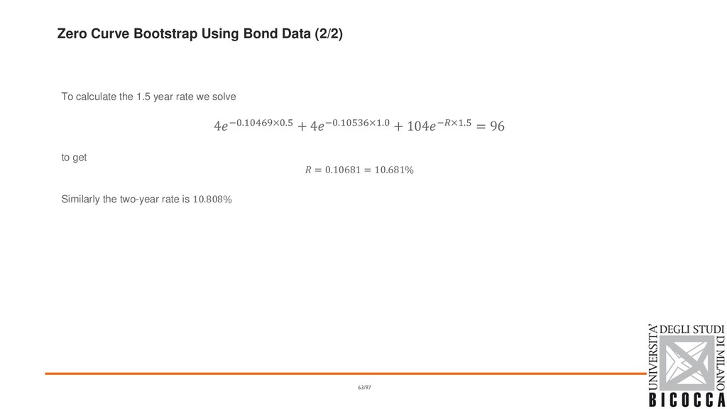 Zero Curve Bootstrap Using Bond Data (2/2) To c...