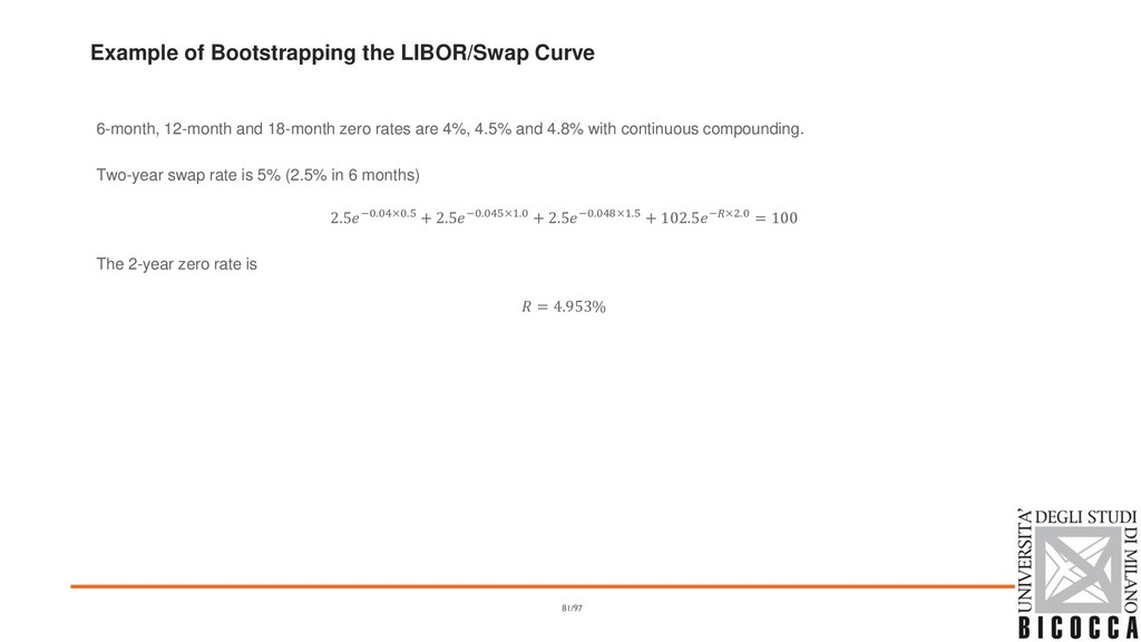 Example of Bootstrapping the LIBOR/Swap Curve 6...