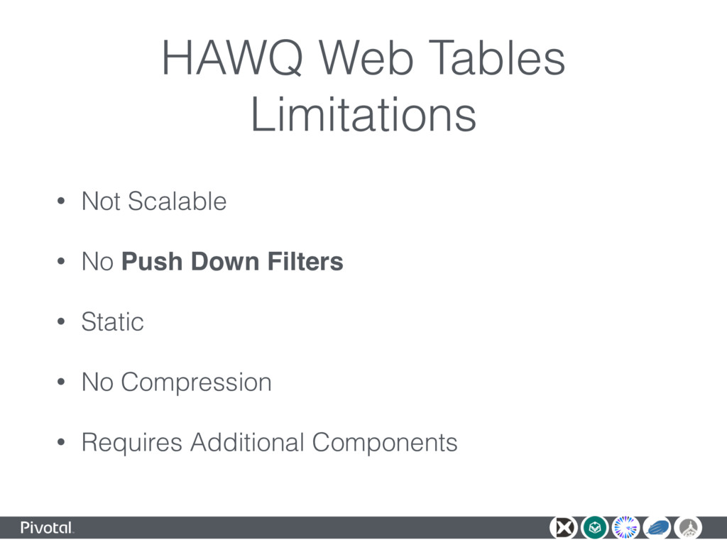 HAWQ Web Tables Limitations • Not Scalable • No...