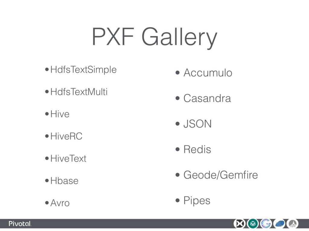 PXF Gallery •HdfsTextSimple •HdfsTextMulti •Hiv...