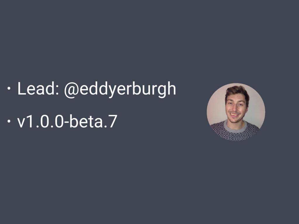• Lead: @eddyerburgh • v1.0.0-beta.7