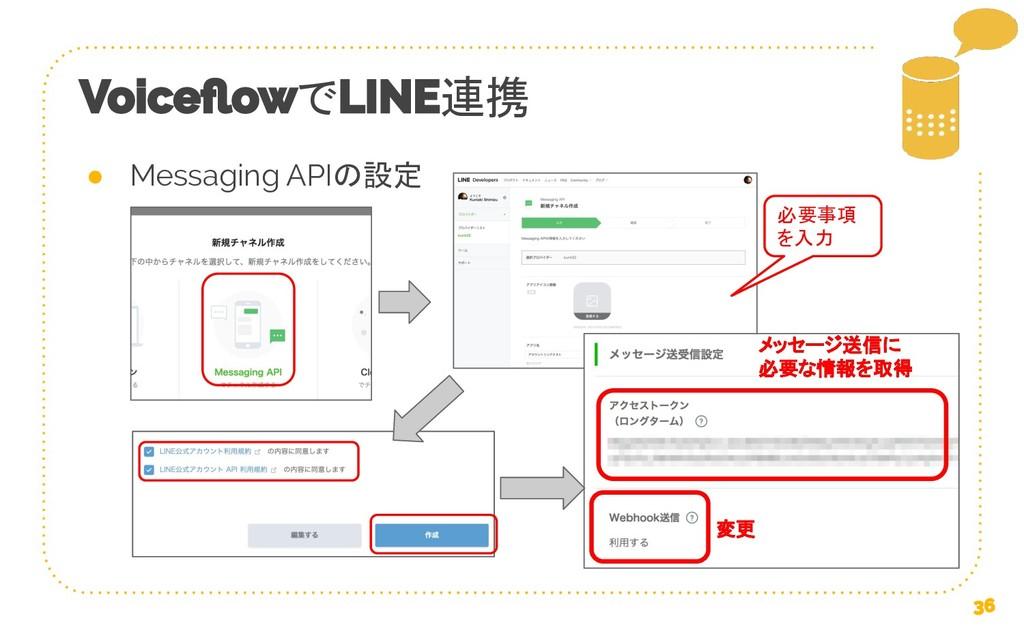 で 連携 ● Messaging APIの設定 必要事項 を入力 メッセージ送信に 必要な情報...