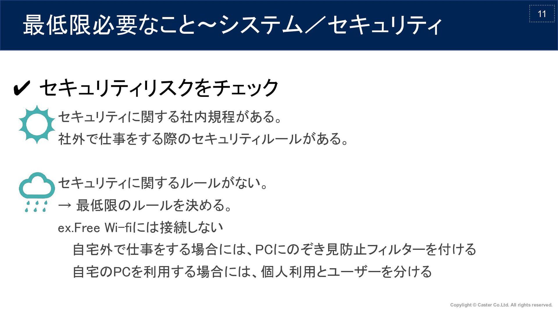 11 最低限必要なこと〜システム/セキュリティ ✔ セキュリティリスクをチェック     ...