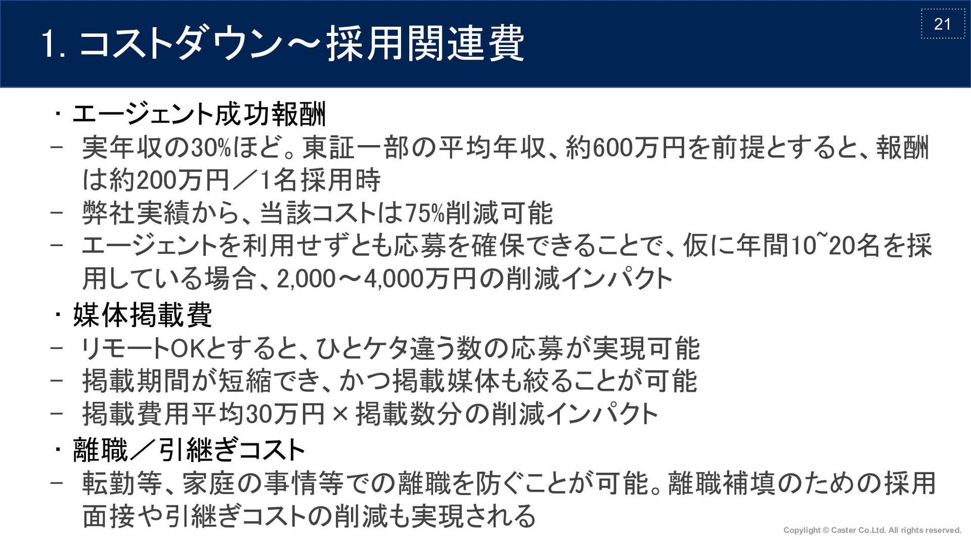 21 • エージェント成功報酬 - 実年収の30%ほど。東証一部の平均年収、約600万円を前...