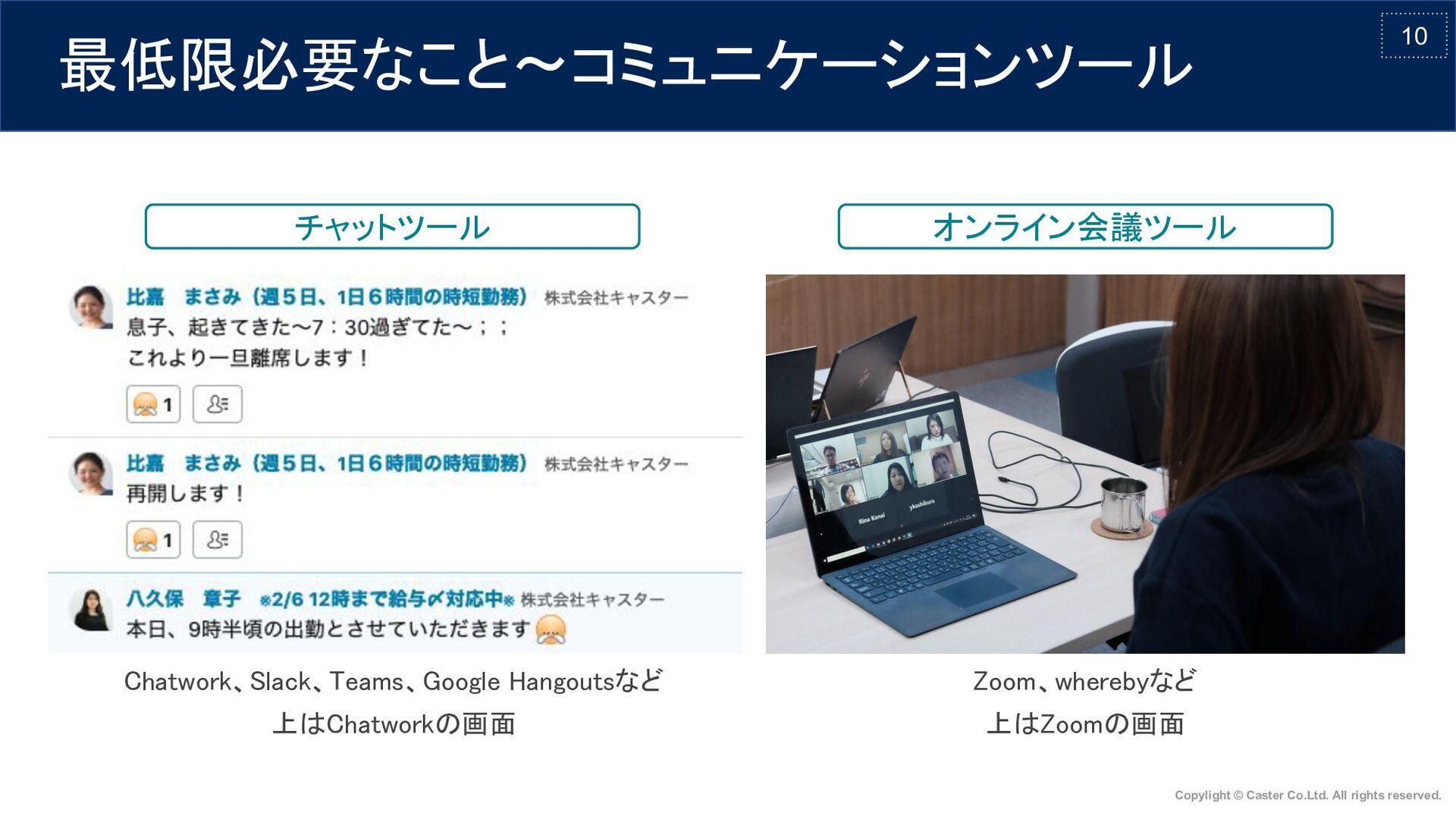 10 最低限必要なこと〜コミュニケーションツール チャットツール オンライン会議ツール ...