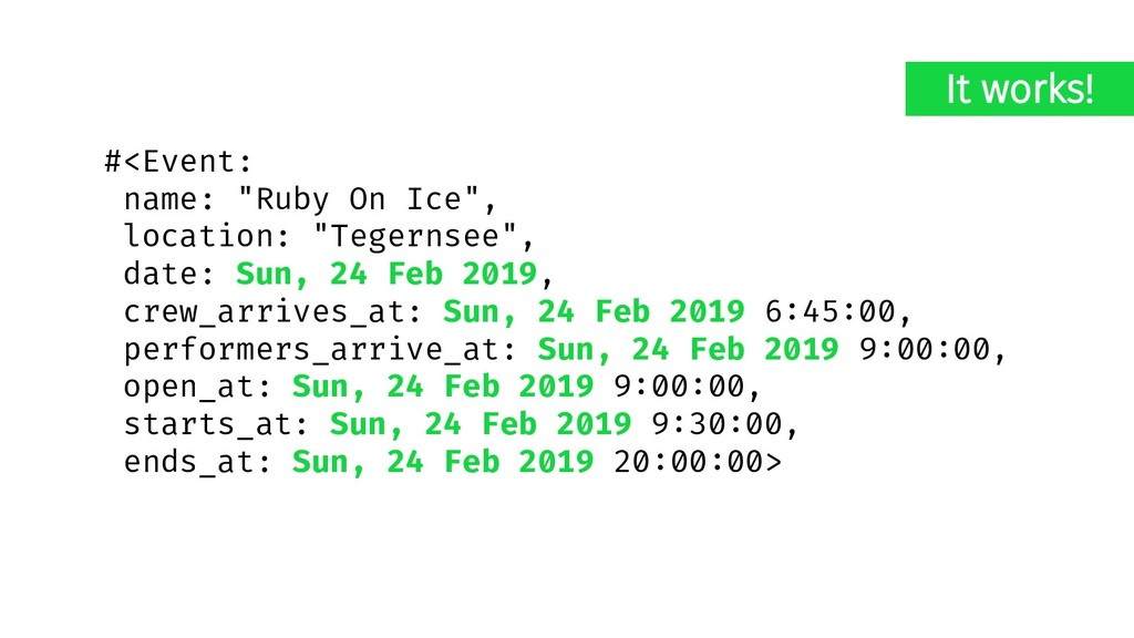 """#<Event: name: """"Ruby On Ice"""", location: """"Tegern..."""