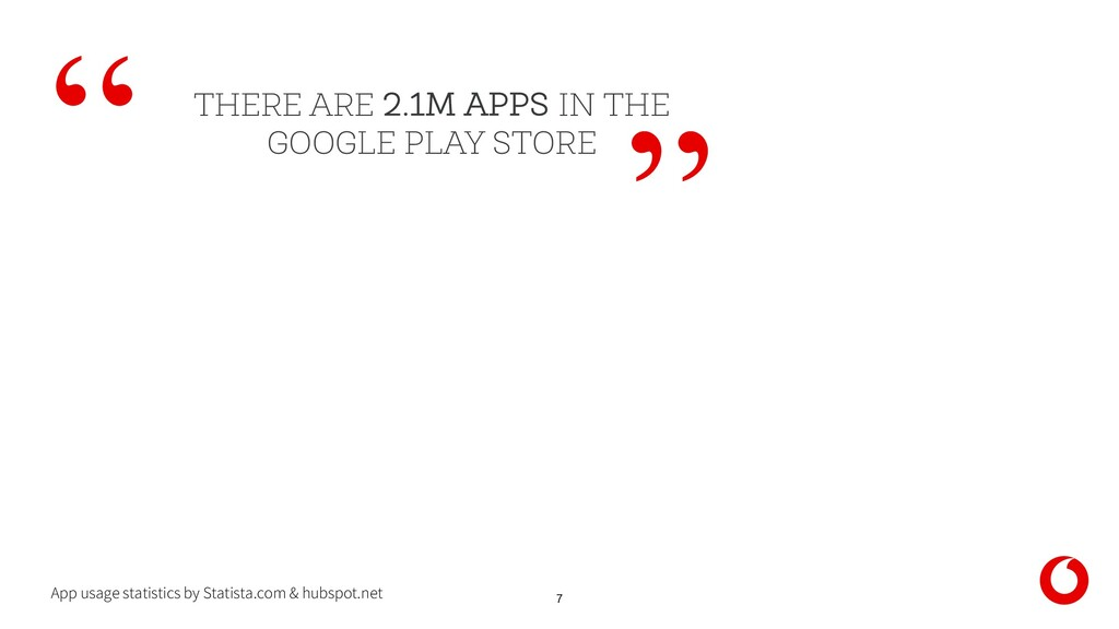 7 THERE ARE 2.1M APPS IN THE GOOGLE PLAY STORE ...