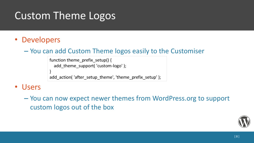 Custom Theme Logos • Developers – You can add C...