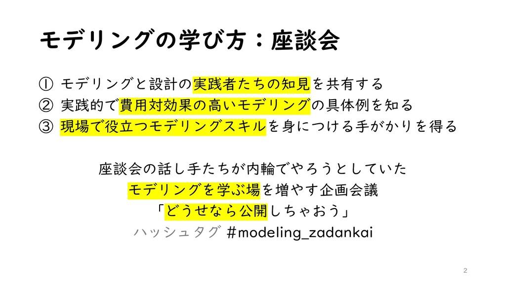 モデリングの学び方:座談会 ① モデリングと設計の実践者たちの知見を共有する ② 実践的で費用...