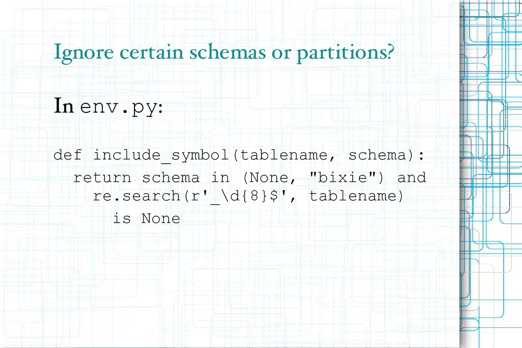 Ignore certain schemas or partitions? In env.py...