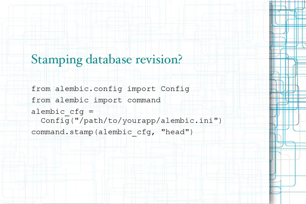 Stamping database revision? from alembic.config...
