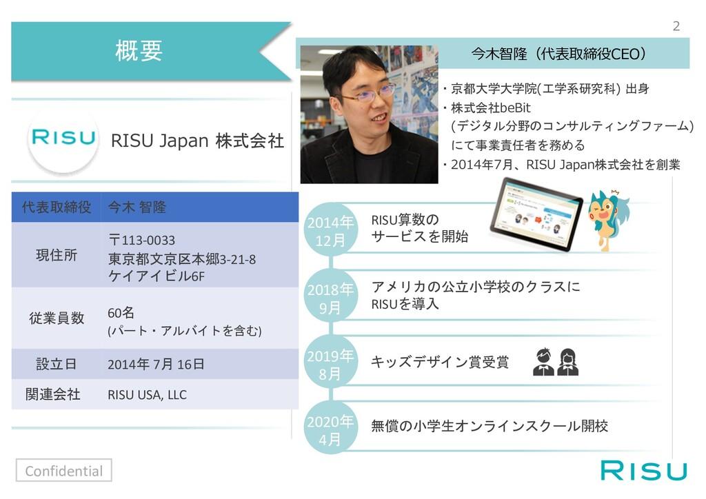 概要 RISU Japan 株式会社 今⽊智隆(代表取締役CEO) ・京都大学大学院(工学系研...