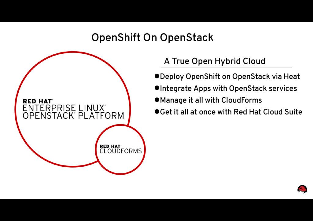 A True Open Hybrid Cloud ●Deploy OpenShift on O...