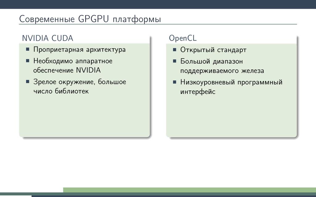 Современные GPGPU платформы NVIDIA CUDA Проприе...