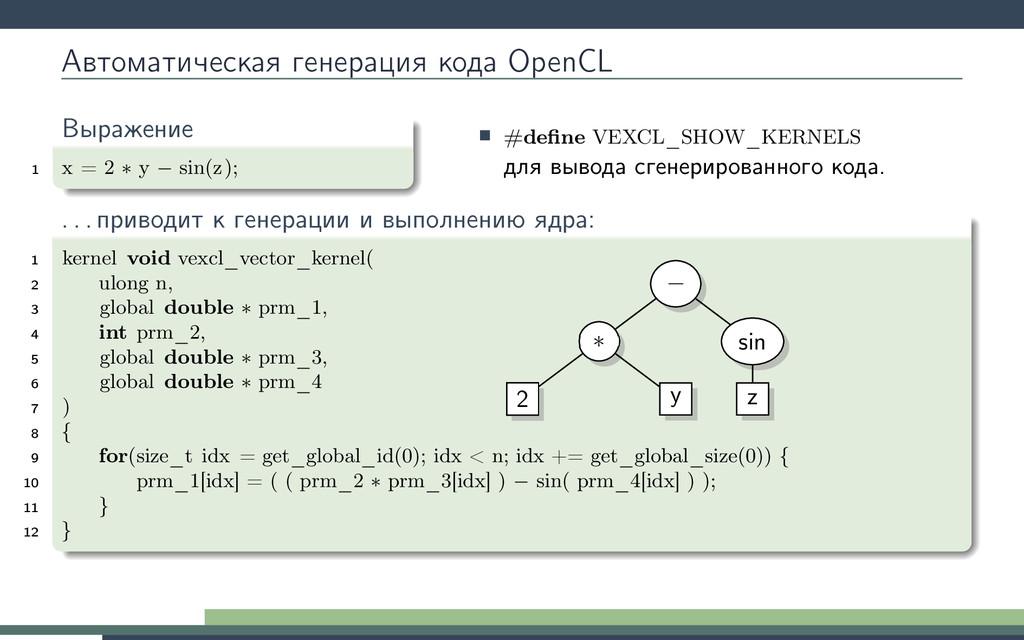 Автоматическая генерация кода OpenCL Выражение ...