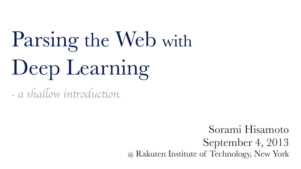 Parsing the Web with Deep Learning - a shallow ...