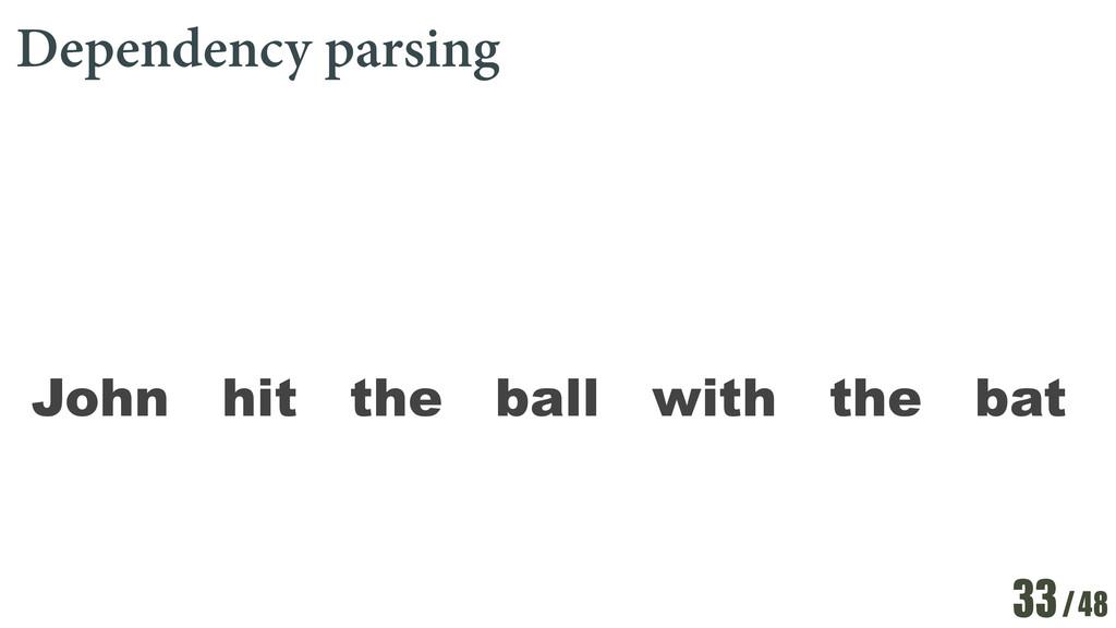 /48 Dependency parsing 33 John hit the ball wit...