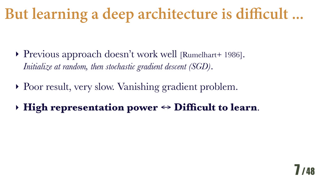 /48 But learning a deep architecture is di cult...