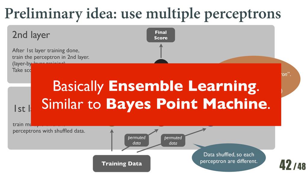 /48 Preliminary idea: use multiple perceptrons ...