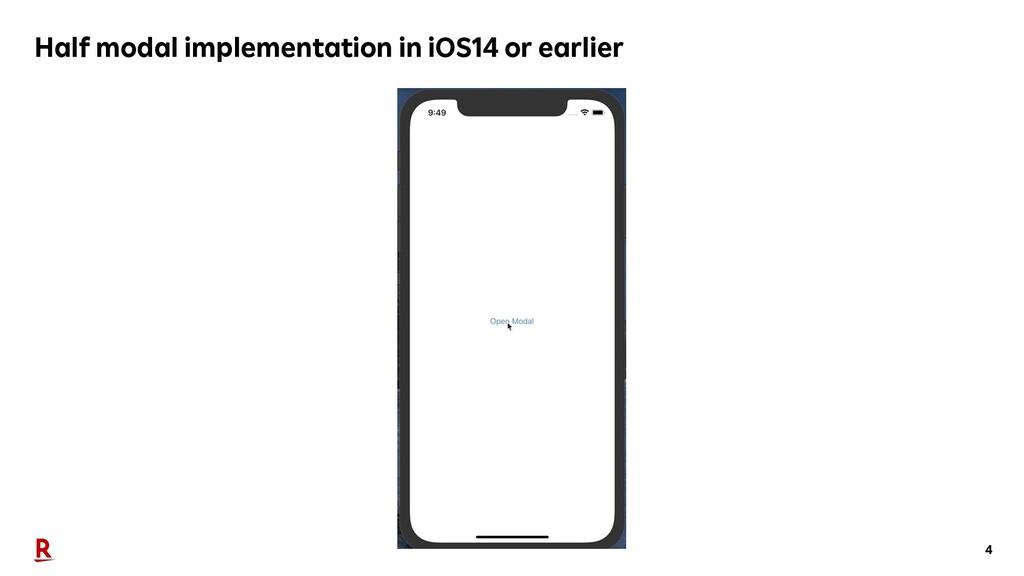 4 Half modal implementation in iOS14 or earlier