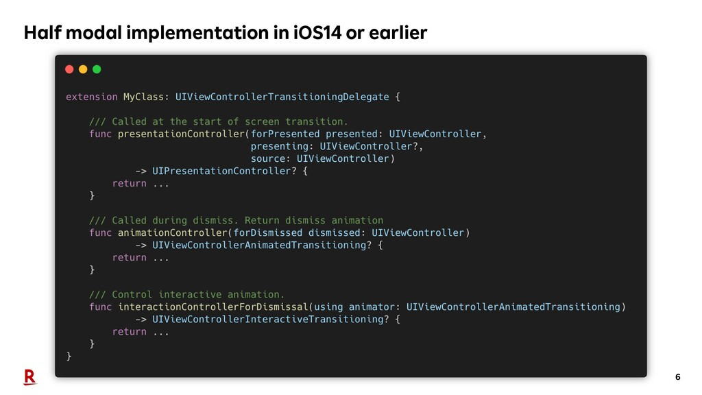 6 Half modal implementation in iOS14 or earlier