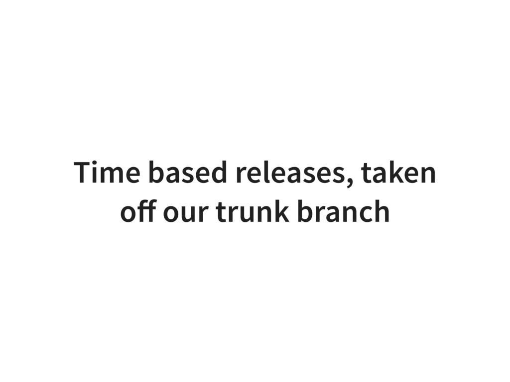 Time based releases, taken off our trunk branch