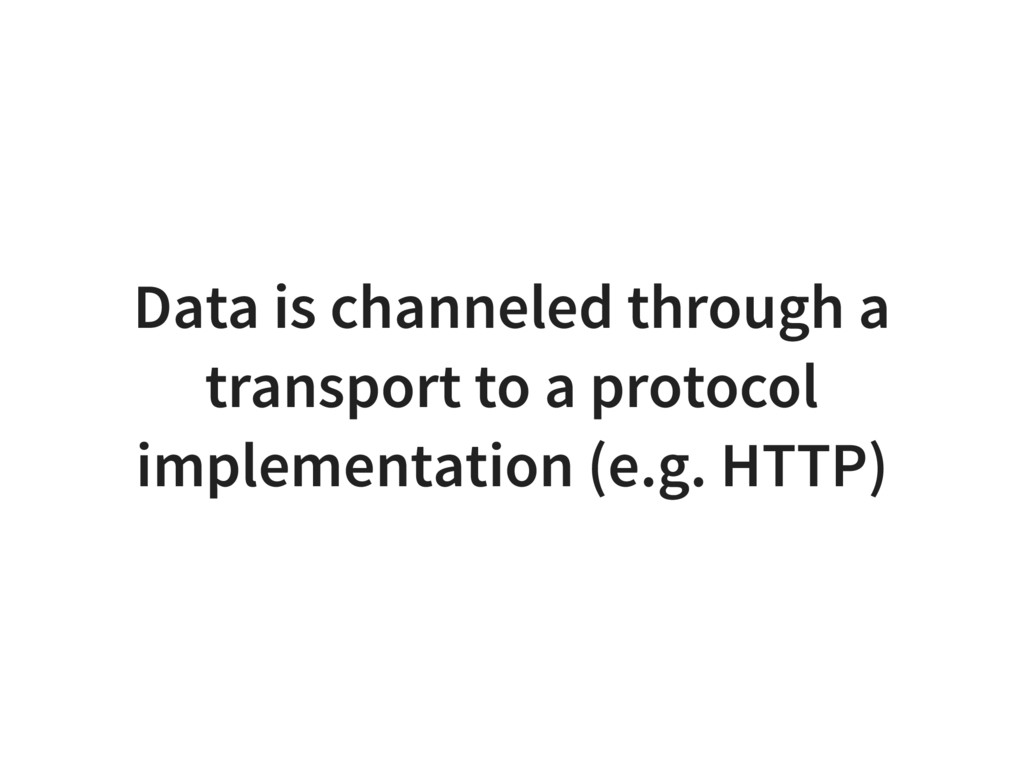 Data is channeled through a transport to a prot...