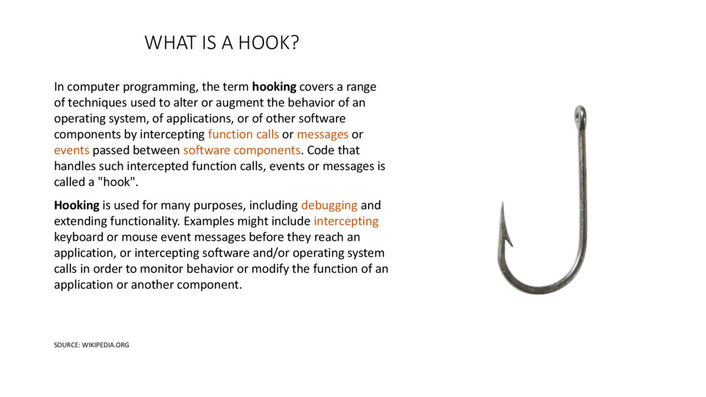 WHAT IS A HOOK? In computer programming, the te...