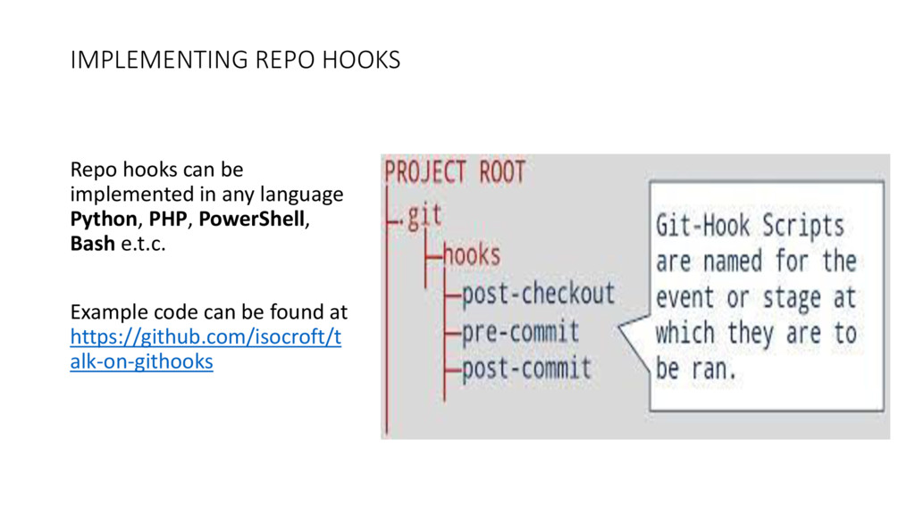 IMPLEMENTING REPO HOOKS Repo hooks can be imple...